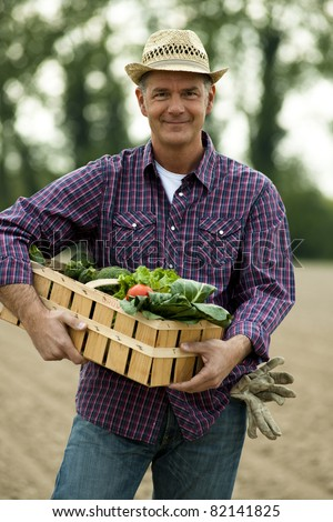 Farmer carrying  a crate of vegetables - stock photo