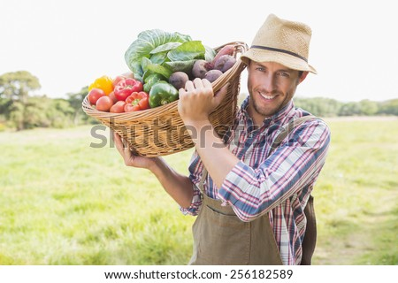 Farmer carrying basket of veg on a sunny day - stock photo