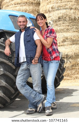 Farmer couple - stock photo