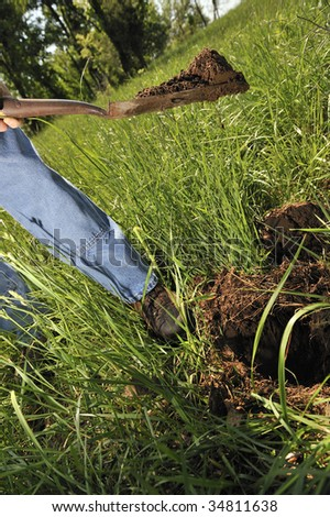 Farmer digging up dit in order to plant a tree sappling - stock photo