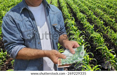 Farmer holding Euro banknote with green cultivated corn field in background - stock photo