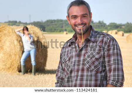 farmer in a field - stock photo