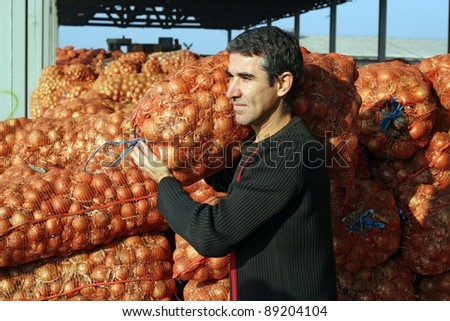 Farmer in agricultural warehouse.  Young farmer carrying a sack of onions in the warehouse. - stock photo