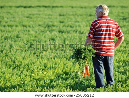 farmer in red shirt and with carrots in his hand - stock photo