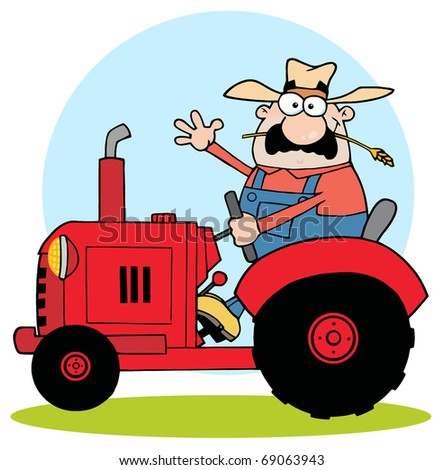 Farmer In Red Tractor Waving A Greeting - stock photo