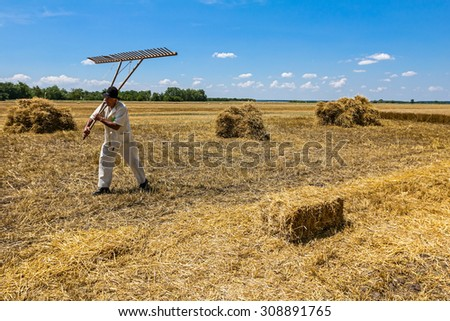 Farmer is walking over harvested field carry his wooden rake. - stock photo