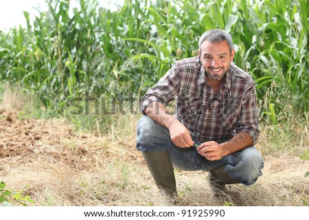Farmer kneeling by crops - stock photo