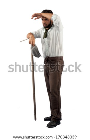 Farmer of the late nineteenth century on white background - stock photo