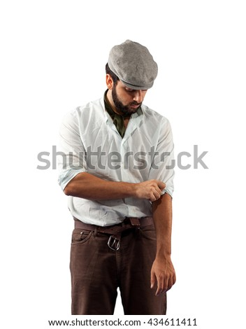 Farmer of the late nineteenth century shorten the sleeves on white background - stock photo