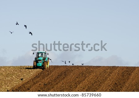 Farmer plowing field with circling crows. North west coast, Tasmania, Australia - stock photo