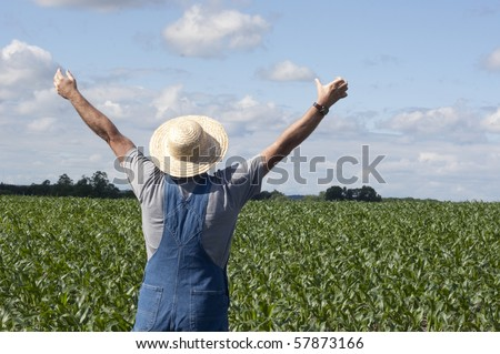 farmer standing in a corn field praying for rain - stock photo