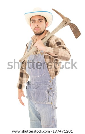 farmer witha pick - stock photo