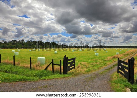 Farmers' fields in South America after the harvest. Low fence gate open - stock photo