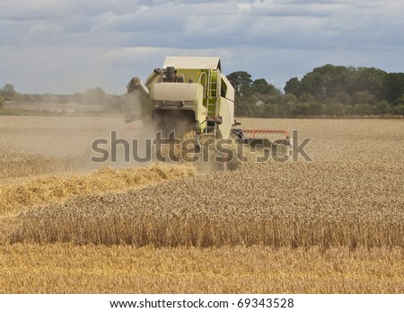 farmers gathering crops with a combine harvester - stock photo