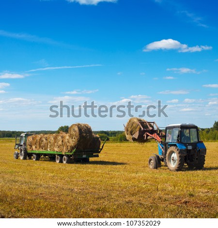 Farmers harvesting hay - stock photo
