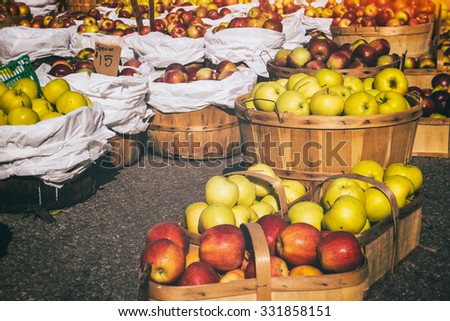 Farmers Market Apple. Baskets of apples, freshly picked in early autumn. - stock photo