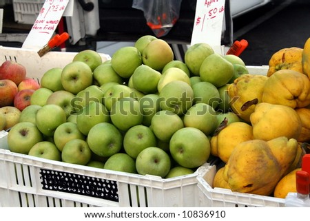 farmers market green apple and other fruit display - stock photo