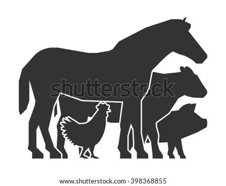 Farmers market logo on a white background. Flat farmers market icon. Black farm animals. Farm animals symbol. Silhouette horse, pig, cow and chicken. - stock photo