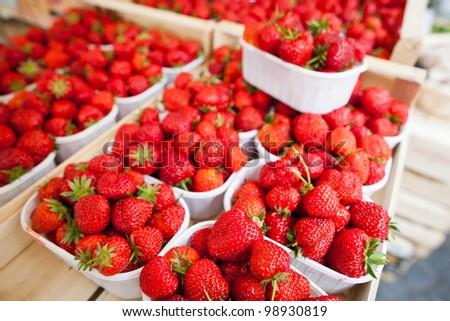farmers market series - fresh strawberries - stock photo