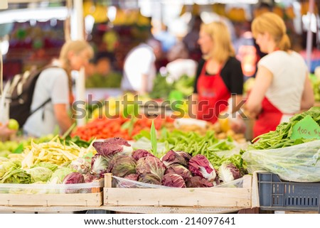 Farmers' market stall with variety of organic vegetable. - stock photo