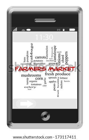 Farmers Market Word Cloud Concept of Touchscreen Phone with great terms such as fresh, local, vegetables and more. - stock photo