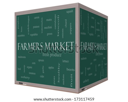 Farmers Market Word Cloud Concept on a 3D cube Blackboard with great terms such as fresh, produce, local and more. - stock photo