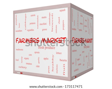 Farmers Market Word Cloud Concept on a 3D cube Whiteboard with great terms such as fresh, produce, local and more. - stock photo