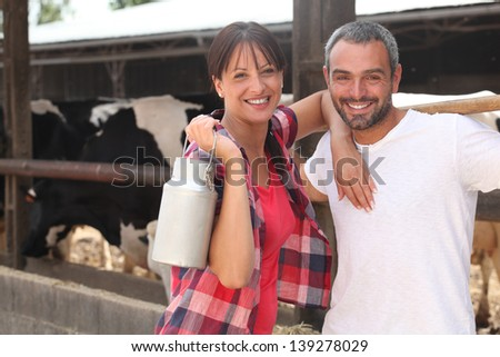 Farmers smiling - stock photo