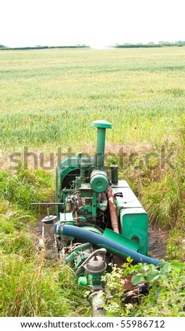Farmers water irrigation generator - stock photo