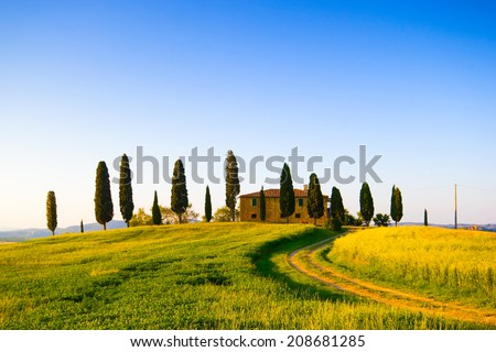 Farmhouse and cypress trees in Tuscany, italian landscape - stock photo