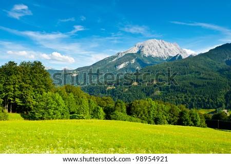 Farmhouse in the Bavarian Alps, Germany - stock photo