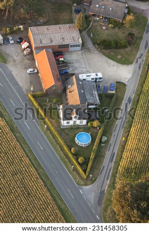 Farmhouse in the Lower Rhine Region of Germany - Huenxe, North Rhine-Westfalia, Germany, Europe - stock photo