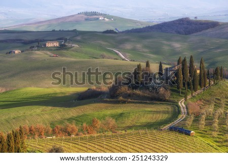 Farmhouse in the Val d'Orcia - stock photo