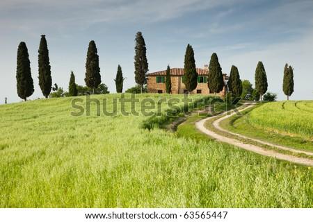 Farmhouse in Tuscany near Pienza, Italy - stock photo