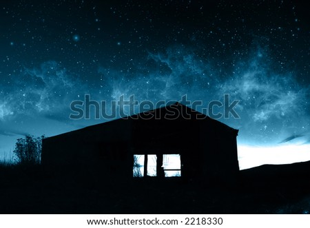 Farmhouse Silhouette - stock photo