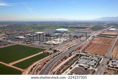 Farming and Football, mixed use facility in Glendale, Arizona from above - stock photo