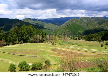 Farming mountain village along Kumano Kodo, the UNESCO World Heritage and ancient pilgrim route in Kii Mountains, Wakayama Prefecture, Kansai, Japan - stock photo