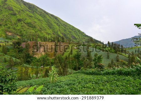 Farming on the hill slopes in East Java, Indonesia - stock photo