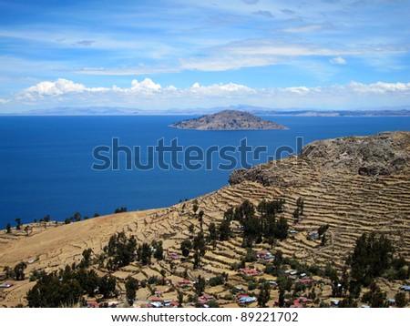 Farming terraces of Amantani Island, Lake Titicaca, Peru - stock photo