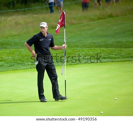 FARMINGDALE, NY - JUNE 15: Jim Furyk surveys the 12th green on the Black Course during the 2009 US Open on June 15, 2009 in Farmingdale, NY. - stock photo