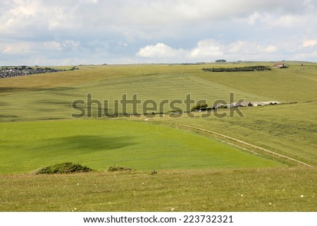 Farmland and countryside by Beachy Head near Eastbourne. East Sussex. England - stock photo