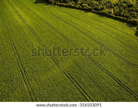 Farmland from above - aerial image of a lush green filed and a small country road with a car - stock photo