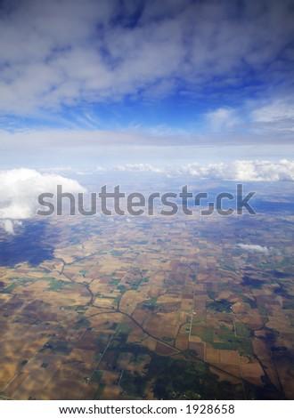 Farmland from an Airplane - stock photo