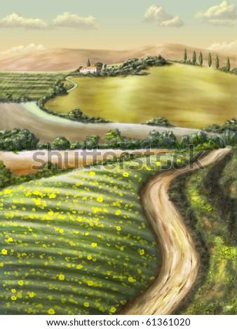 Farmland in Tuscany, Italy. Original digital illustration. - stock photo