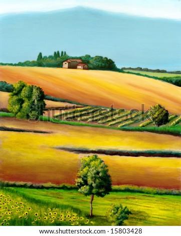 Farmland in Tuscany, Italy. Original hand painted illustration. - stock photo