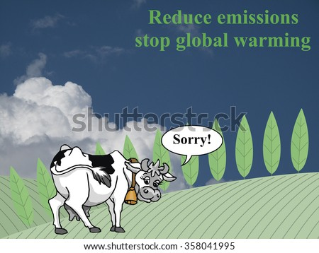 Farmland landscape with apologetic cow for contributing towards emissions and global warming set against a cloudy sky backdrop - stock photo