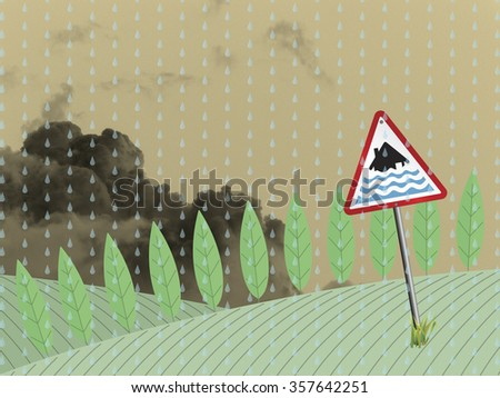 Farmland landscape with severe flood warning sign against a cloudy sky backdrop - stock photo