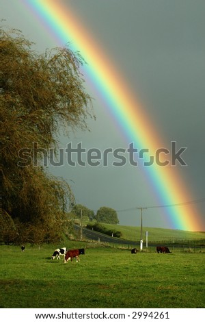 Farmland Rainbow - stock photo