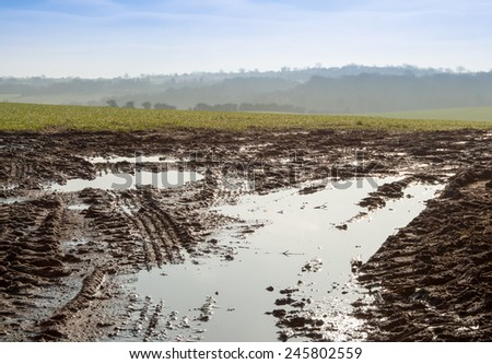 Farmland UK wetland stormy weather farming and agriculture - stock photo