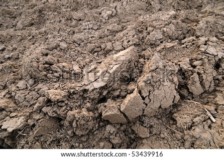 Farmland with brown loamy soil - stock photo